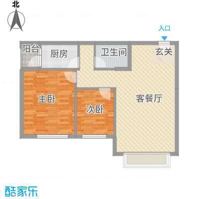 保利香槟国际4.10㎡3号楼3-12层B4户型2室2厅1卫1厨
