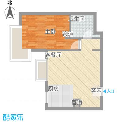 天津大悦城悦府56.20㎡2号楼标准层B户型1室2厅1卫1厨