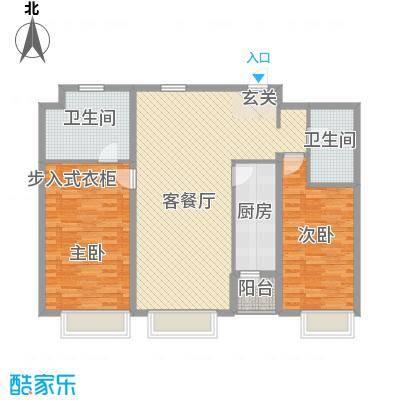 保利香槟国际13.66㎡1、2号楼标准层A5户型2室2厅2卫
