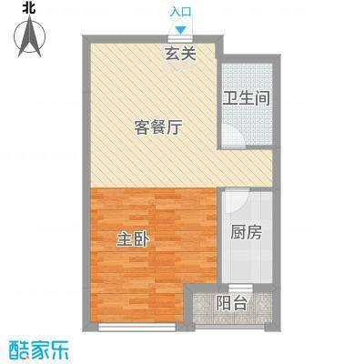 保利香槟国际64.48㎡3号楼3-12层B6户型1室2厅1卫1厨