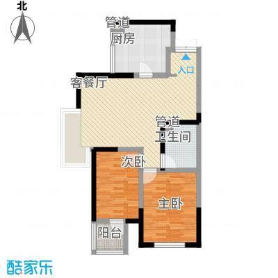 卫津领寓一期12/13/14/17号楼标准层B户型2室2厅1卫1厨