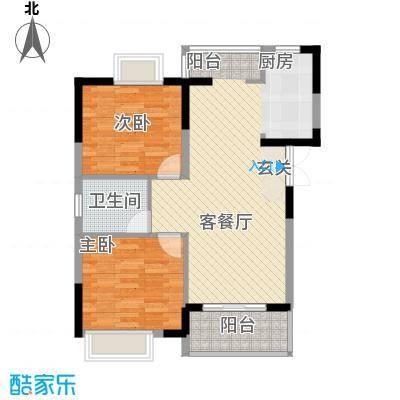 清风华园8.81㎡B3户型2室2厅1卫1厨