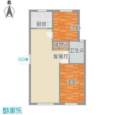 西山林语88.12㎡一期6号楼标准层B6户型2室2厅1卫1厨
