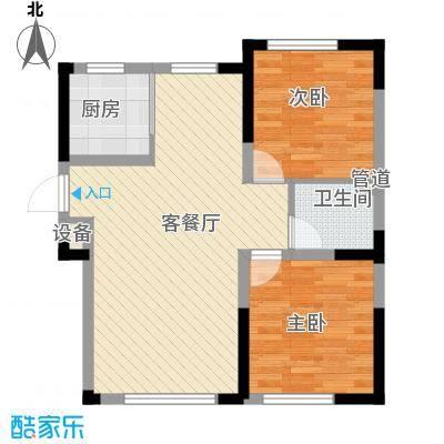 绿地福林8.00㎡标准层C1户型2室2厅1卫1厨