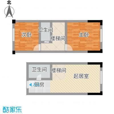 筑石银座42.40㎡B6户型2室2厅2卫
