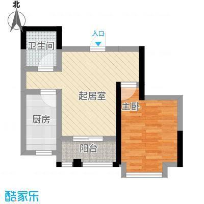 滨河新天地56.00㎡一期高层B15户型1室1厅1卫1厨
