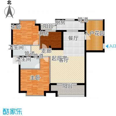 滨河新天地123.00㎡一期高层B户型3室3厅2卫2厨