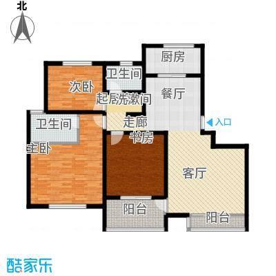 滨河新天地126.00㎡一期高层B户型3室2厅2卫1厨