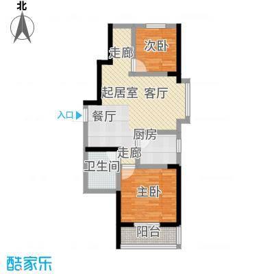 滨河新天地82.00㎡一期高层A15户型2室2厅1卫1厨