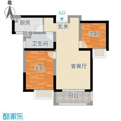 圣兰菲诺一期高层27-A3户型2室2厅1卫1厨