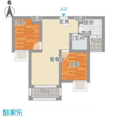 月澜锦程6.00㎡一期高层B2户型2室2厅1卫1厨