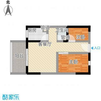 龙凤花园63.00㎡一期高层F户型2室1厅1卫1厨