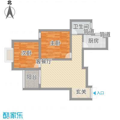凯润滨湖花园84.00㎡一期3#楼、6#楼C户型2室2厅1卫1厨