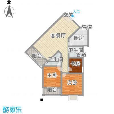 凯润滨湖花园126.00㎡一期2#楼C户型3室2厅2卫1厨