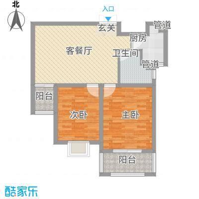 凯润滨湖花园86.00㎡一期1#楼B户型2室2厅1卫1厨