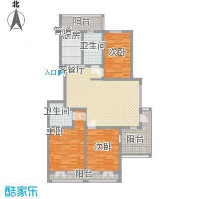 银河龙门花园133.30㎡二期D2-D4号楼C户型3室2厅2卫1厨