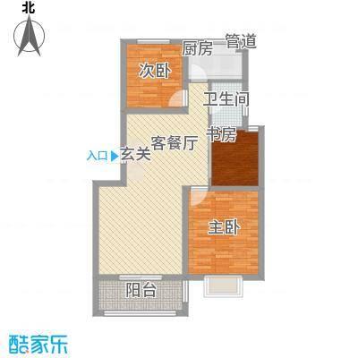 浙景国际玫瑰园1.10㎡二期F户型3室2厅1卫1厨