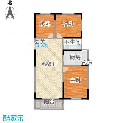 金榜龙城116.00㎡一期25号楼B户型3室2厅1卫1厨