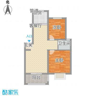 浙景国际玫瑰园87.72㎡二期C户型2室2厅1卫1厨