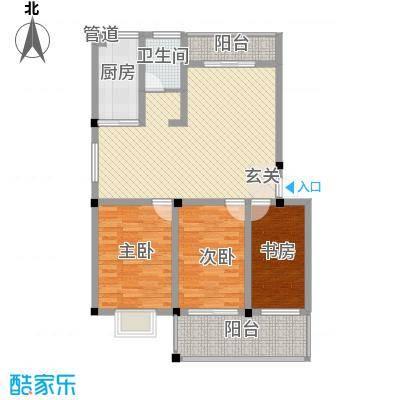 金达华府117.22㎡二期多层F户型3室2厅1卫1厨
