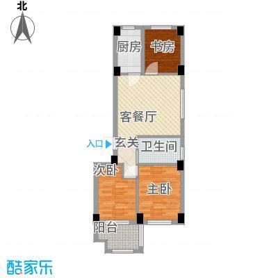 宏宸欧缘76.00㎡二期B1户型3室2厅1卫1厨