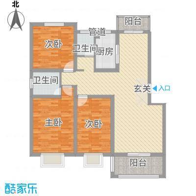 金达华府133.40㎡二期多层L户型3室2厅1卫1厨