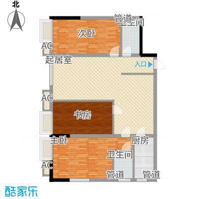 欧韵峰尚138.10㎡一期高层E6户型3室2厅2卫1厨