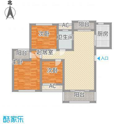 爱伦坡125.00㎡高层C户型3室2厅1卫1厨