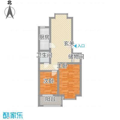 冠蒙・阳光新城84.40㎡6号楼户型2室2厅1卫1厨