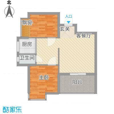 水岸名都74.00㎡1#楼标准层06户型2室2厅1卫1厨