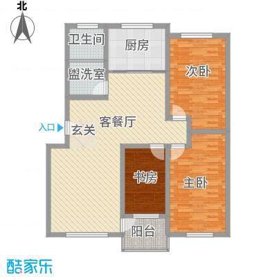 香溪新城131.00㎡一期B3#、B4#楼标准层多层经典户型3室2厅1卫1厨