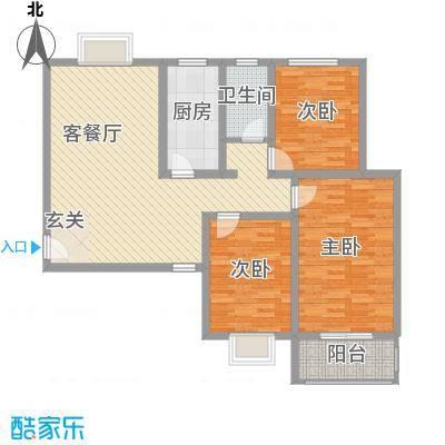 金都花园124.20㎡标准层E户型3室2厅1卫1厨
