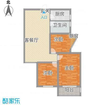金都花园114.70㎡标准层B户型3室2厅1卫1厨