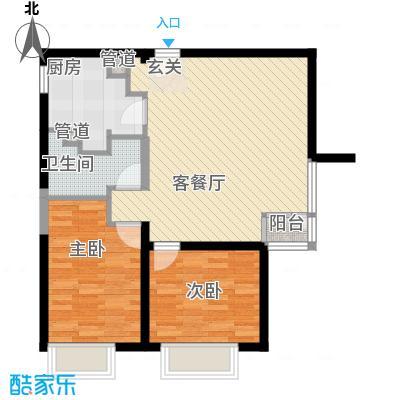 天津大悦城悦府1、3、4、5号楼标准层D户型2室2厅1卫1厨
