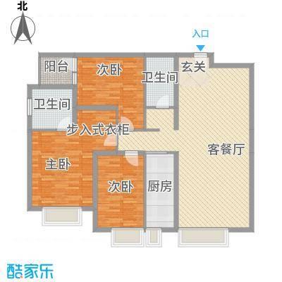 保利香槟国际153.38㎡1、2号楼标准层A1户型3室2厅2卫