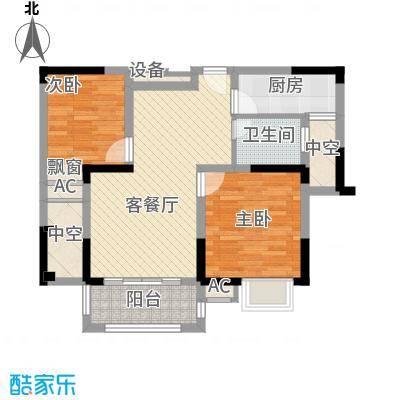 中宸御龙湾87.00㎡C户型2室2厅1卫1厨