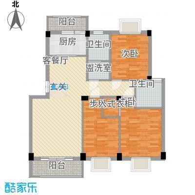 香榭丽都114.37㎡二期H1户型3室2厅2卫1厨