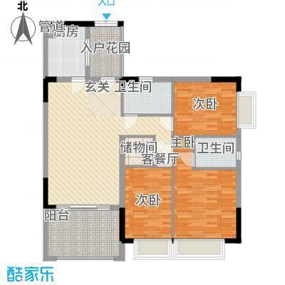 尚书房12.13㎡27层高层18号楼E4户型3室2厅2卫1厨