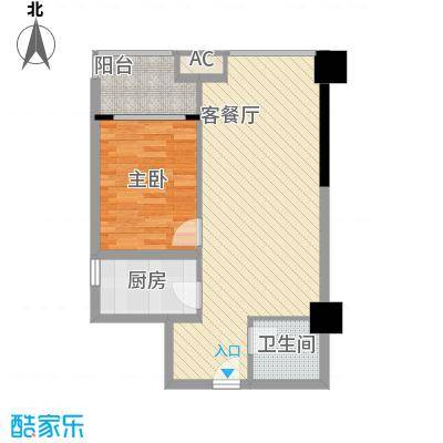 时丰中央公园7.85㎡DK2-2号楼B户型1室1厅1卫1厨