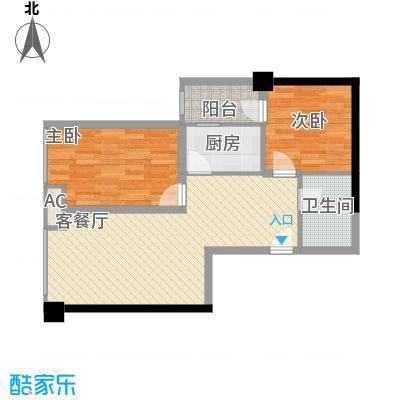 时丰中央公园76.75㎡DK2-1号楼C户型2室1厅1卫1厨