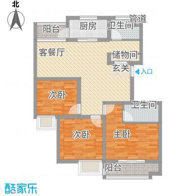 柏盛苑18.44㎡一期1号楼标准层K户型3室2厅2卫