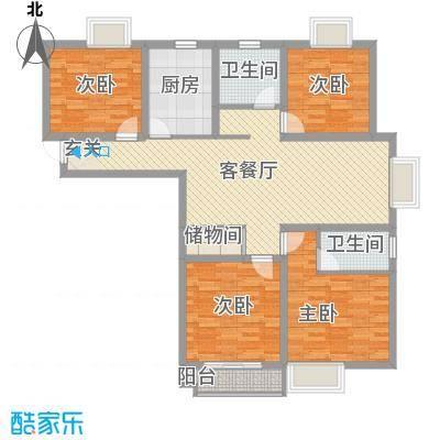 柏盛苑13.54㎡一期1号楼标准层H户型4室2厅2卫