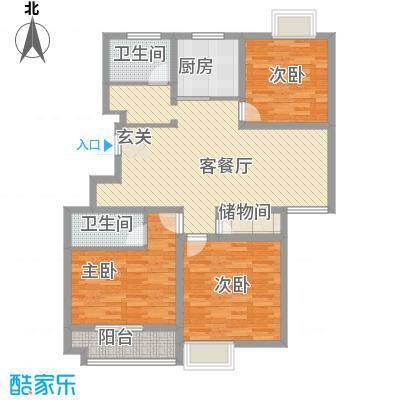 柏盛苑127.13㎡一期1号楼标准层L户型3室2厅2卫