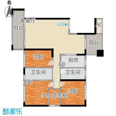 中骏天峰155.00㎡1#01单元户型3室2厅2卫1厨