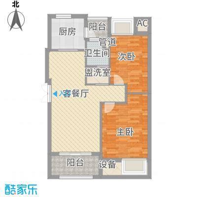 荣安琴湾88.00㎡A户型2室2厅1卫1厨
