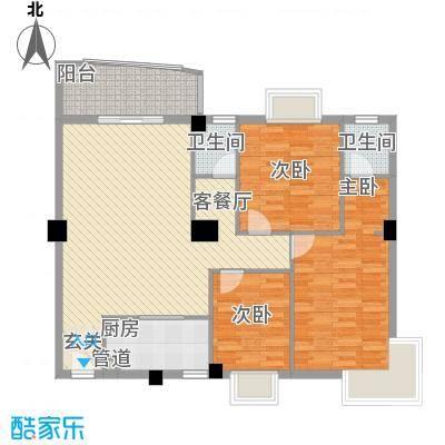 华森公园首府11.00㎡2#、3#、5#楼标准层01、02单元户型3室2厅2卫1厨