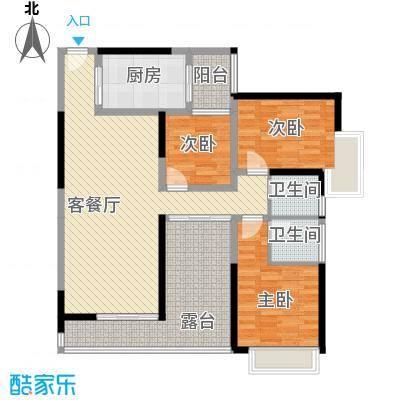湖光山色117.00㎡1单元、2单元01、0-户型3室2厅2卫1厨