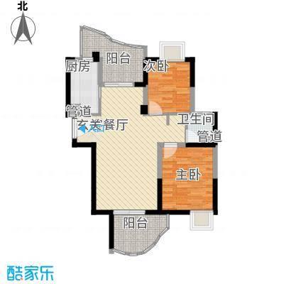 森林海86.66㎡37#B型户型2室2厅1卫1厨