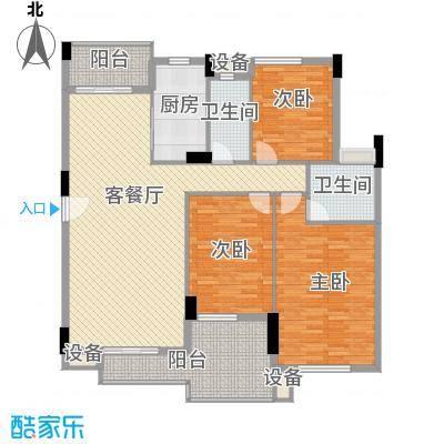 海逸锦绣桃园122.76㎡02栋1座01单元户型3室2厅2卫1厨