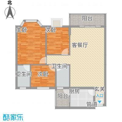 文海花园F型平面图户型3室2厅2卫1厨